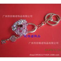 时尚新款镶钻心形钥匙扣 金属钥匙挂件