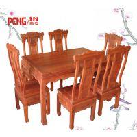 中式古典雕花餐桌椅 福州定制红木家具诚招加盟 巴花材质花鸟图