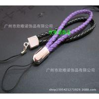 编织皮手机带,真皮手机挂绳,皮革手机吊带,手腕PU皮吊饰