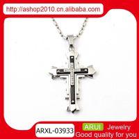 欧美时尚男士吊坠 优质钛钢十字架镶钻吊坠 速卖通ebay货源代理