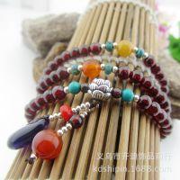 天然石榴石纯银手链 时尚韩国饰品 紫水晶 绿松石手工编织手饰