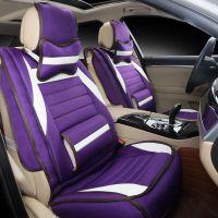 2015新款3D刺绣皮革加亚麻汽车坐垫 四季通用透气面料座套HC0266