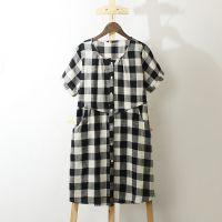 大码长款开衫 外贸女装 日单文艺格子棉麻连衣裙 夏季女士衬衫