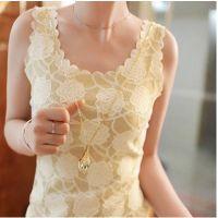 2015夏季新款无袖背心打底衫韩版潮蕾丝花朵边烫金圆领吊带衫女装