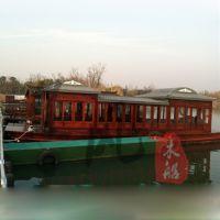 木船厂专业制作8m大型豪华双层画舫船餐饮电动木船游船客船