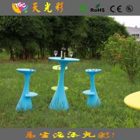 奶茶甜品店专用塑料桌 酒吧防水桌子 户外、度假村专用彩色家具