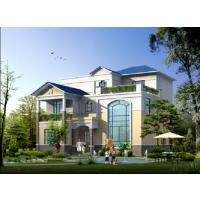 带露台清新大方三层新农村自建房屋施工图(含效果图+结构+中式装修)13.5x14.3米