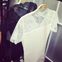 2015春装新款小银子 修身显瘦蕾丝螺纹拼接短袖T恤厂家直销B