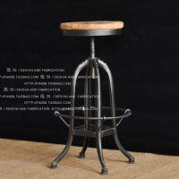 高级餐厅椅子美式铁艺吧台椅升降凳子酒吧ktv高档椅子实木仿古椅