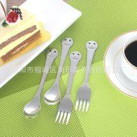厂家直销  无磁不锈钢笑脸叉勺 餐厨具 厨房小工具 西餐叉勺批发