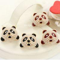A205 可爱米珠镶钻熊猫头耳钉