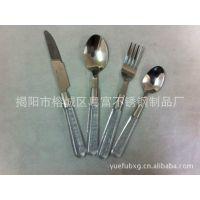 透明带水汽塑料柄餐具 不锈钢餐具 不锈钢刀叉勺 出口原单 环保