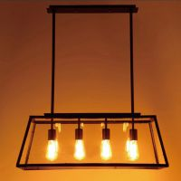 特价 美式乡村工业复古铁艺吊灯 客厅餐厅创意灯具 4头玻璃箱灯