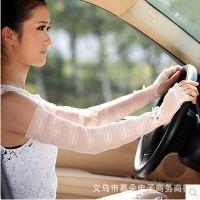 厂家直销夏季新款高品质韩国冰丝蕾丝露指加长款护臂防晒手套袖套