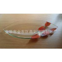 厂家供应异形钢化玻璃盘子/玻璃水果碟子 创意透明盘子 定制加工