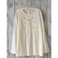 若蝶。秋季新款文艺森林系手工刺绣长袖衬衫衬衣娃娃衫