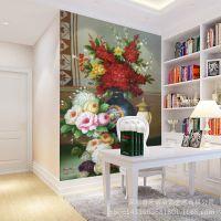 客厅玄关墙纸 沙发背景墙壁纸 油画卧室无缝大型壁画简约花卉