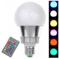 深圳翔明电子有限公司LED10W球泡灯RGB七彩灯泡E27多色变化灯室内彩灯KTV酒吧遥控变色球泡灯
