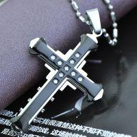 高品质外贸欧美经典十字架项链 黑暗骑士明星同款吊坠 一件代发