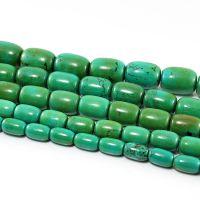 经纬阁 二黄绿松石桶珠 天然绿松石优化颜色 批发绿松石佛珠配件