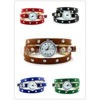 韩版时尚皮革编织手表 三圈圆钉复古手表 个性铆钉手链朋克表