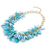 速卖通 eBay 果冻 bib项链  蓝色  花朵水晶亚克力  果冻短颈项链