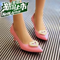 奢华2015新款rv女鞋真皮高跟尖头女单鞋心形水钻细跟牛漆皮工作鞋