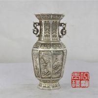 批发仿古龙银八角花瓶家居摆件铜器工艺品家具花瓶摆件