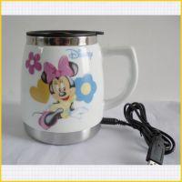 2013新款车截USB不锈钢陶瓷杯 车载热水杯 迪士尼陶瓷大啤插电杯