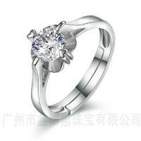 鑫博蕙厂家批发925银花朵戒指广州原创首饰设计纯银戒子