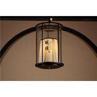 明璞中式布艺吊灯 新中式餐厅吊灯批发 新中式铁艺玻璃吊灯定制