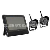 7寸无线两路监控套装 7寸监控存储一体机 无线摄像机 红外夜视