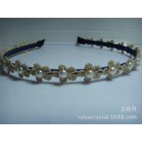 韩版来自星星的你千颂伊全智贤同款镶嵌珍珠米色蕾丝发箍