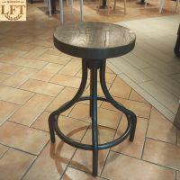 洛夫特 美式复古实木吧椅铁艺实木休闲餐厅高脚椅子创意吧台椅