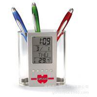 厂家直销多功能万年历透明笔筒办公创意电子商务礼品可印Logo