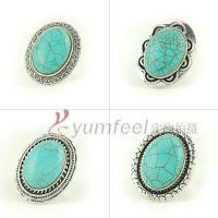 R1116 欧美风复古蛋型绿松石戒指 多样式 戒指批发 复古饰品