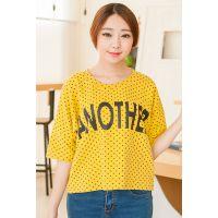 夏装新款韩国东大门小圆点波点字母印花蝙蝠衫短袖宽松T恤女