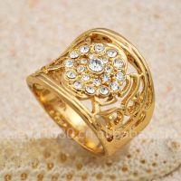 J3823 宝奇娜高档正品镀金钻戒 时尚 精品镶钻戒指 仿真黄金首饰