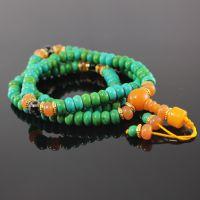 厂家供应108颗念珠藏式绿松石手链 108颗藏银佛珠手串批发