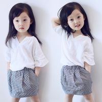 2015夏季新品韩版儿童套装女童气质小V领清新T短袖格子短裙两件套