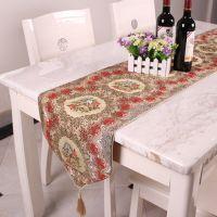 欧式高档奢华复古刺绣花纹红色桌旗餐桌布布艺茶几布餐桌垫