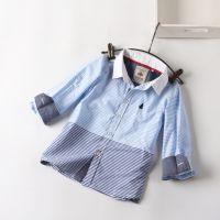 【新品快订】15秋款 外贸童装  条纹拼色 男童衬衣 童衬衫
