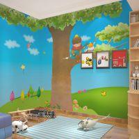 环保自粘墙纸 男孩拉琴卡通大树 儿童房沙发床头个性定制大型壁画