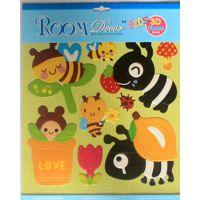 厂家供应各种卡通图案 小鱼小蜜蜂小鸟泡泡儿童贴纸 值得前来定做