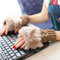 手套韩国新款仿兔毛露指打字长款保暖毛线韩版可爱女秋冬季款手套
