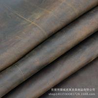 现货小批 疯马皮皮料油皮进口棕色/黑色2.0MM厚复古油变头层牛皮