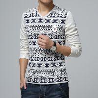 厂家直销秋冬新款长袖V领印花t恤男士韩版修身加绒打底衫J@@%4832