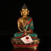 藏传佛教用品批发尼泊尔手工制作纯铜镶嵌绿松石释迦牟尼佛像摆件