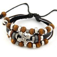 小额批发 欧美时尚 流行风金属十字架木珠皮质多层手链