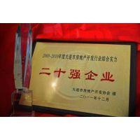 房地产商会活动木托纪念牌 表彰优质开发商高档木奖牌 二十强企业红木纪念牌